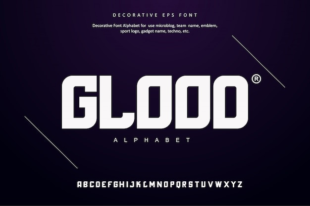 Творческий алфавитный шрифт techno digital future