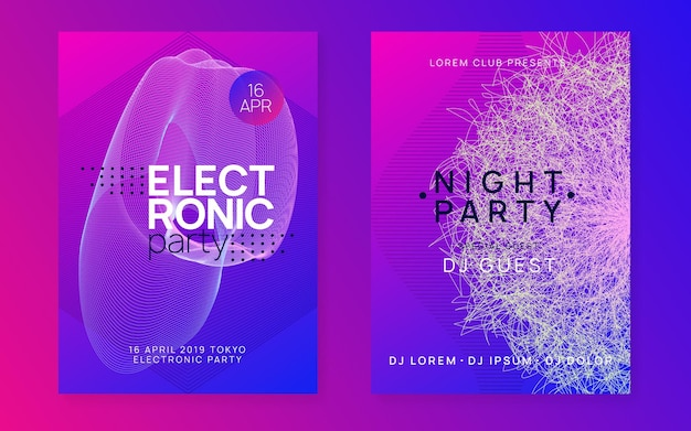 Techno event. commercial concert banner set. dynamic fluid shape and line. neon techno event flyer. electro dance music. electronic sound. trance fest poster. club dj party.