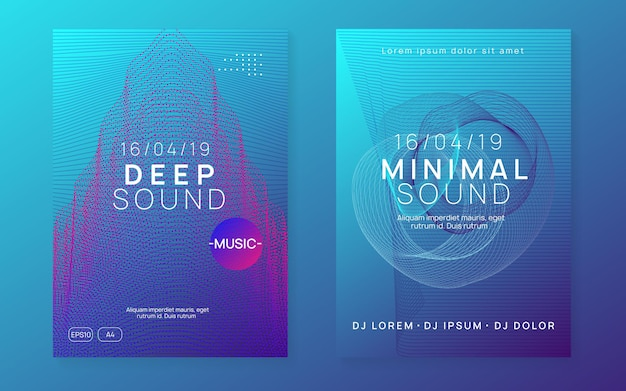 Techno event. dynamic fluid shape and line. geometric show cover set. neon techno event flyer. electro dance music. electronic sound. trance fest poster. club dj party.
