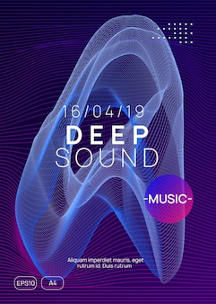 Techno event. dynamic gradient shape and line. energy discotheque invitation design. neon techno event flyer. electro dance music. electronic sound. trance fest poster. club dj party.