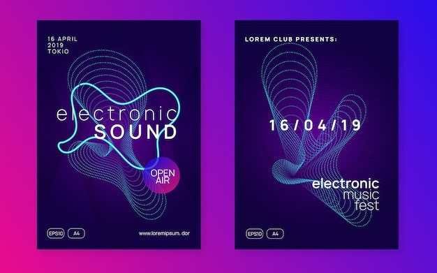 Techno event. minimal discotheque invitation set. dynamic fluid shape and line. neon techno event flyer. electro dance music. electronic sound. trance fest poster. club dj party.