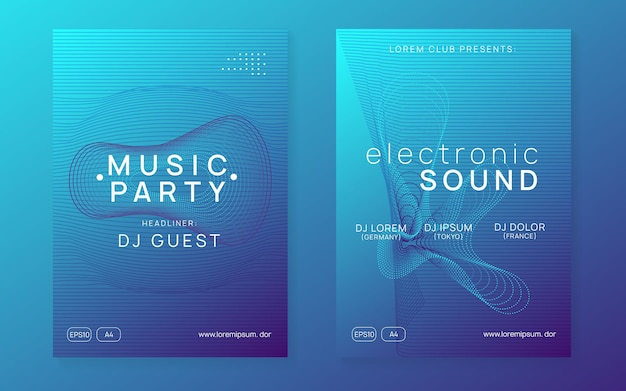 Techno event. modern discotheque invitation set. dynamic gradient shape and line. neon techno event flyer. electro dance music. electronic sound. trance fest poster. club dj party.