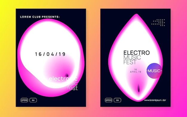 Techno flyer. fun dance banner. club and exhibition template. geometric pattern for magazine layout. linear effect for invitation. pink and white techno flyer