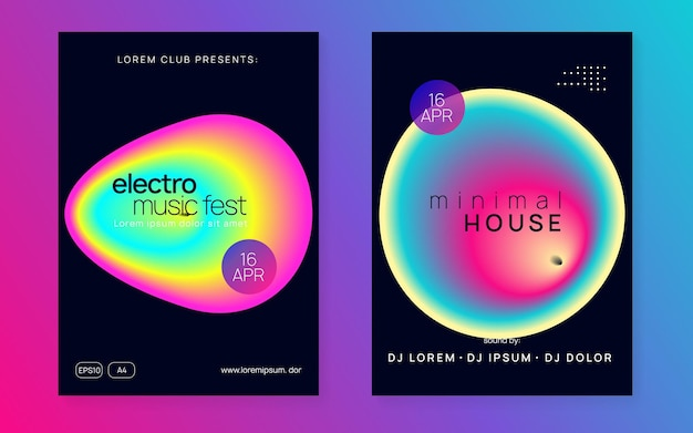 Techno flyer. graphic pattern for presentation shape. wave art for cover. indie electro party. trance and discotheque design. pink and blue techno flyer