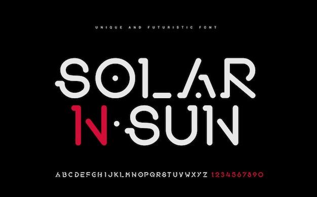 Техно шрифт креативный современный алфавит. типография с точечной регулярностью и номером. набор минималистских шрифтов.