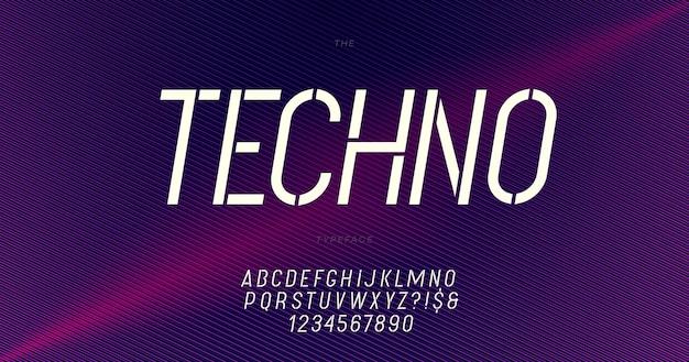 Техно шрифт модная типография. современный шрифт