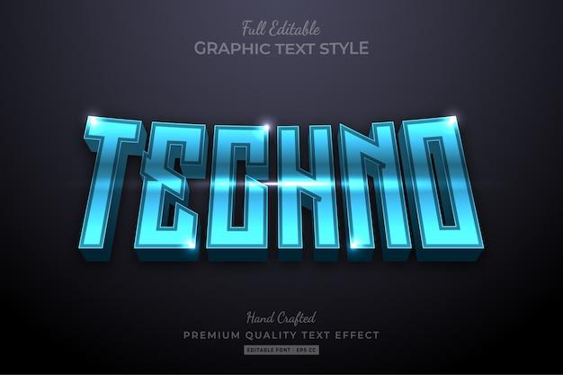 Techno futuristic editable premium text effect