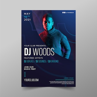 Techno man music event poster template