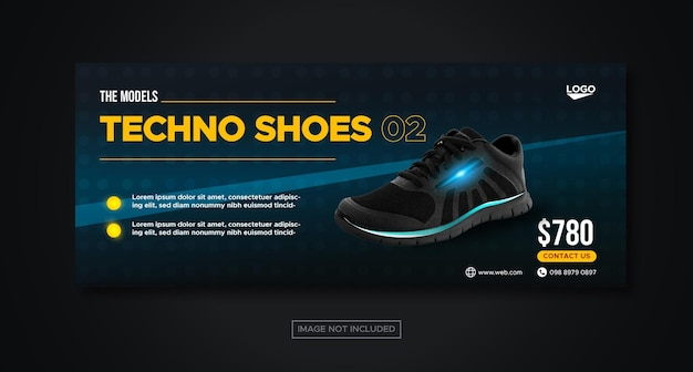 Techno shoes social media facebook banner template for promotion