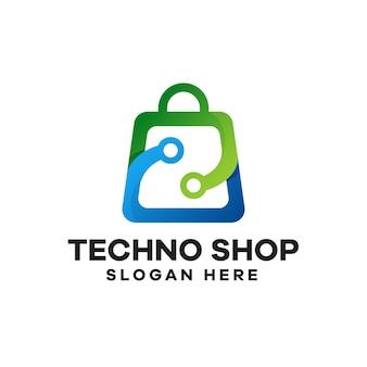テクノショップグラデーションロゴデザイン