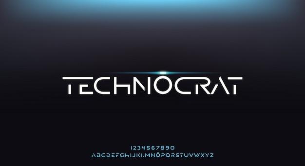Technocrat, абстрактный футуристический шрифт алфавит с технологической темой. современный минималистичный дизайн типографии премиум