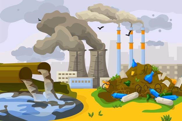 Техногенная катастрофа, загрязнение окружающей среды, сброс отходов в грязную воду озера плоский вектор i ...