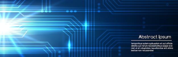 현실적인 스타일 배경에서 디지털 마이크로 칩 텍스처와 technologic 블루 추상 전자 템플릿