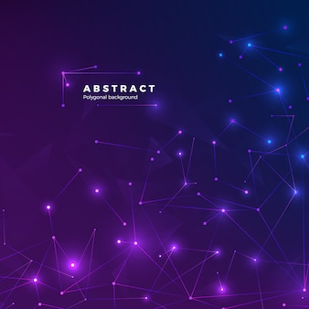 Technological abstract background. particles, dots and connected by lines. low polygonal texture.  illustration blue and purple backdrop