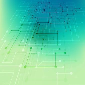 기술 배경, 파랑 및 녹색 무료 벡터