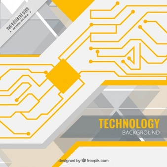 Technological background with a yellow circuit