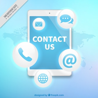 Technological background with mobile and contact icons