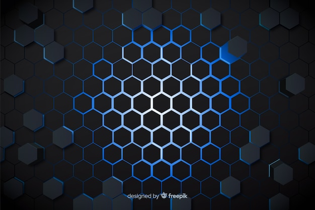 Technological blue lights of honeycomb background