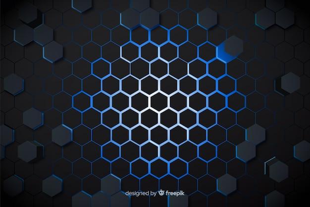 Technological blue lights of honeycomb background