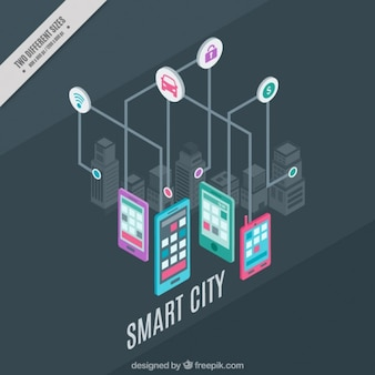 Technological city with icons and devices background