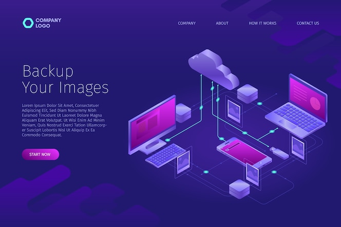 Technological concept for uploading images landing page