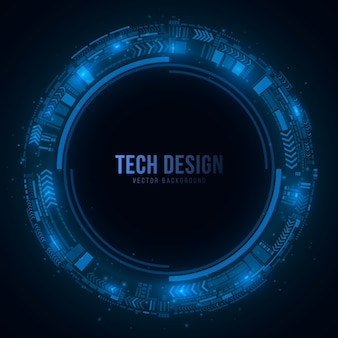Technological cyber circle made of a glowing scheme in a futuristic style