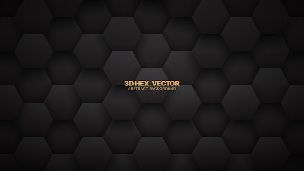 Technological d hexagons minimalist black abstract background Premium Vector