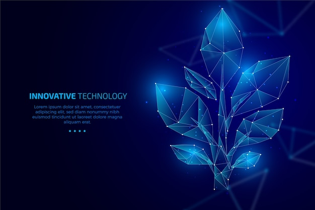 Technological ecology concept with leaves