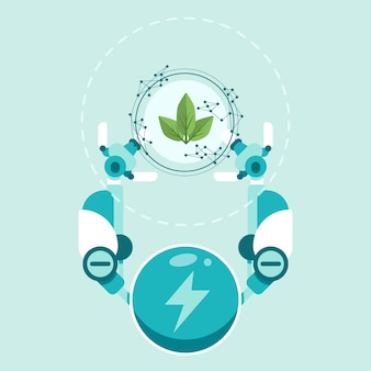 Технологическая концепция экологии с роботом руками и растений