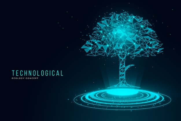 Technological ecology concept with tree