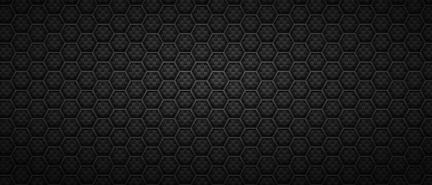 技術的な六角形の黒い背景。モノクロのミニマリズムで抽象的な行に配置された幾何学的な多角形のタイル。 Premiumベクター