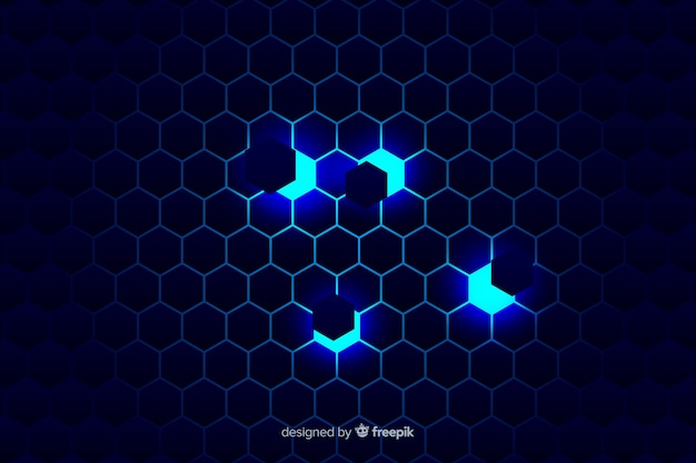 Technological honeycomb background on blue shades