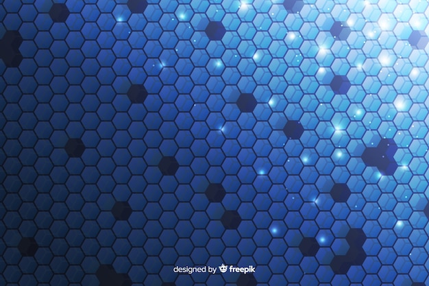 Technological honeycomb background in blue