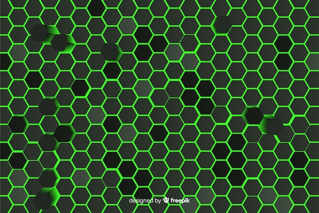 Technological honeycomb background in green