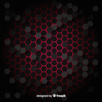 Technological honeycomb background in red