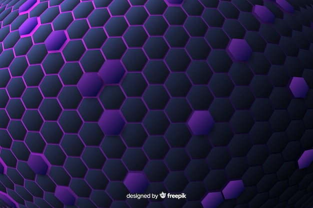 Technological honeycomb background in violet