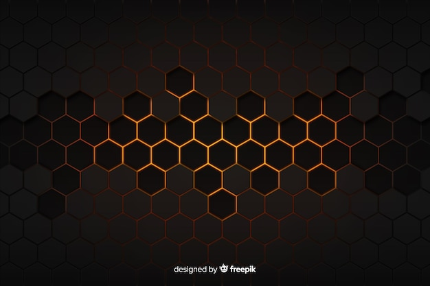 Technological honeycomb black and golden background