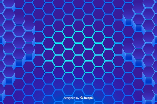 Technological honeycomb blue background