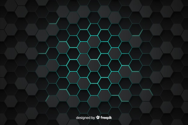 Technological honeycomb grey and blue background