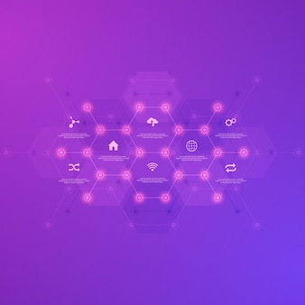 Technological infographic background with flat icons and symbols.