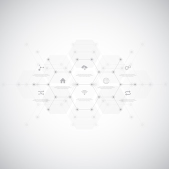 Technological infographic background with flat icons and symbols