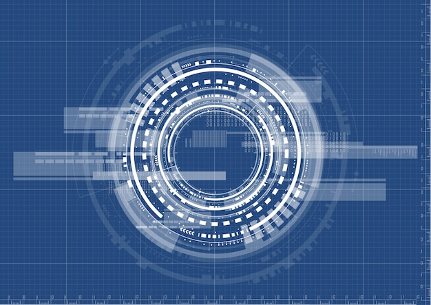 Technological interface system blueprint background vector