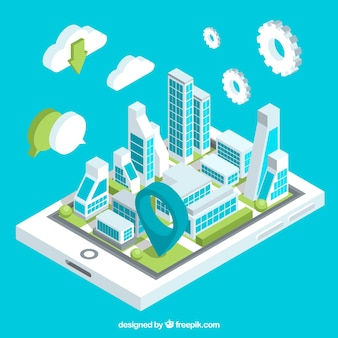 Technological isometric city background