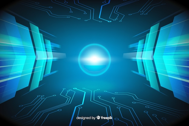 Technological light tunnel background flat design