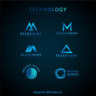 Technological logo collection Premium Vector