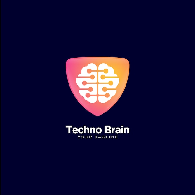Technological logo with brain