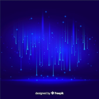Technological particles falling blue background