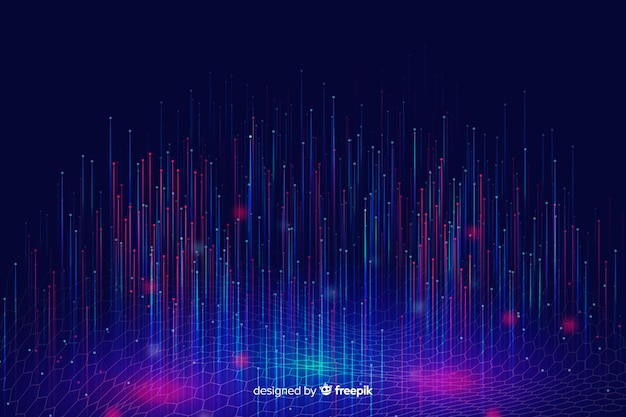 Technological shiny falling particles background