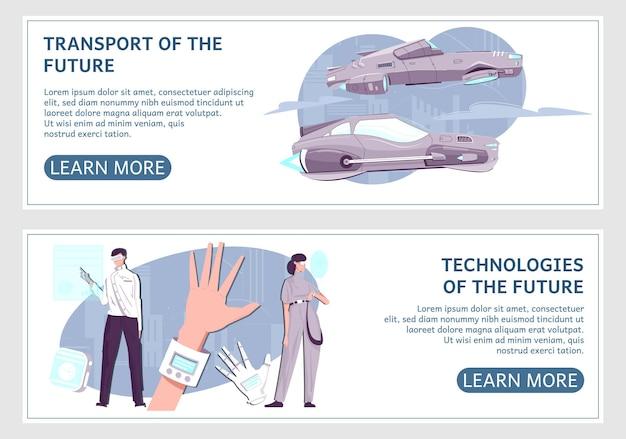 Tecnologie del futuro due banner orizzontali isolati con orologio intelligente di trasporto futuristico e altri gadget