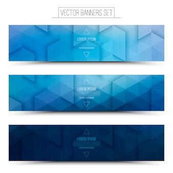 Technology 3d vector blue web banners set